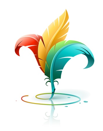 plumes: creative art concept with color red yellow and blue feathers. Vector illustration isolated on white background EPS10. Transparent objects used for shadows and lights drawing.