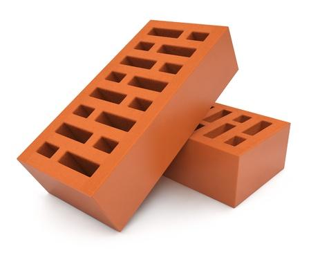 porous: pair of bricks 3d-illustration Stock Photo