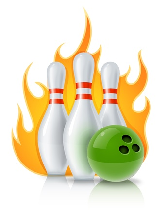 skittles and ball for bowling game illustration isolated on white background . Transparent objects used for shadows and lights drawing. Vector