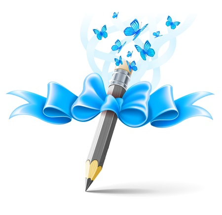 Pencil decorated by bow on white background.  Vector