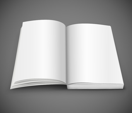 open spread of book with blank white pages  illustration gradient mesh used . Transparent objects used for shadows and lights drawing. Stock Vector - 14568970