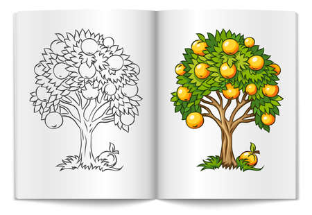 leafage: fruit tree drawn on the book bages illustration isolated on white background