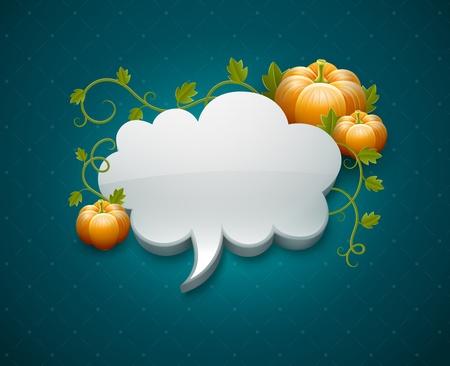 Modèle de carte de jour de Thanksgiving avec des citrouilles et de nuages ??pour le message EPS10. Les objets transparents utilisés pour les ombres et les lumières de dessin. Filet de dégradé. Banque d'images - 15683586