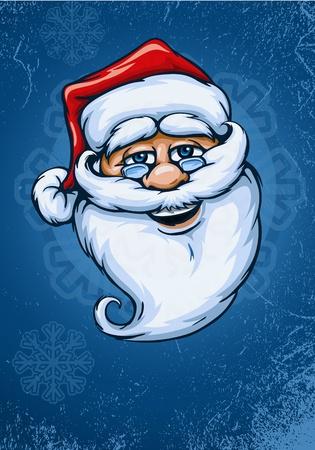 oldman: smiling Santa Claus face vector illustration on blue background EPS10. Illustration