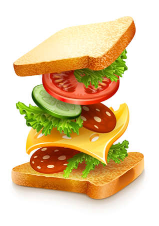 sandwich: exploded view of sandwich ingredients with cheese, tomatoes, lettuce and sausage. Vector illustration isolated on white background EPS10. Transparent objects used for shadows and lights drawing. Illustration