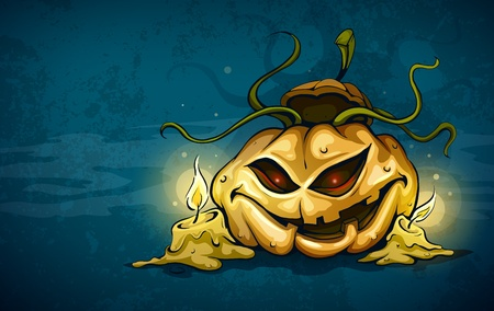 nightmarish: terrible smiling face of jack-o-lantern with candles in night.  Transparent objects used for shadows and lights drawing.