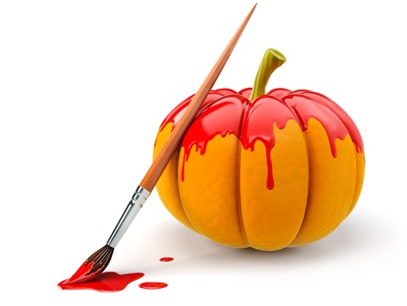adorned: halloween decoration with brush painting pumpkin by red paint, 3d-illustration isolated on white background