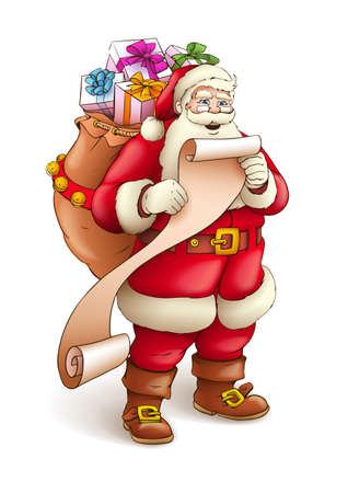 Santa Claus with sack full of gifts reading list of good kids. Vector illustration isolated on white background EPS10. Transparent objects used for shadows and lights drawing.