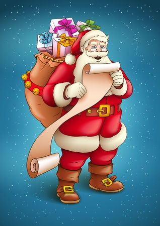Santa Claus with sack full of gifts reading list of good kids. Vector illustration isolated on blue snow background EPS10. Transparent objects used for shadows and lights drawing. Stock Vector - 16221465