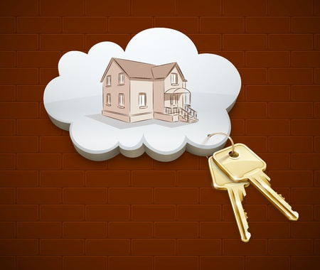 golden key: keys of dream house in the cloud vector illustration EPS10. Transparent objects used for shadows and lights drawing.