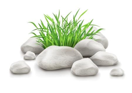 원예: 흰색 배경 EPS10에 고립 된 풍경 디자인 요소의 벡터 일러스트 레이 션으로 돌 녹색 잔디. 그림 그림자와 조명에 사용되는 투명 개체. 사용 그라디언트 메쉬.