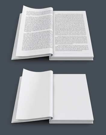 open spread of books with text and blank white pages 3d-illustration illustration