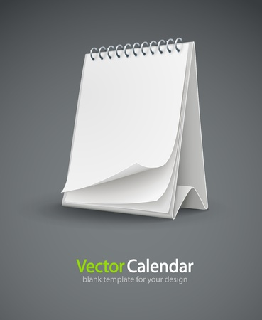 calendar template with blank page vector illustration isolated on gray background EPS10. Transparent objects used for shadows and lights drawing. Vector
