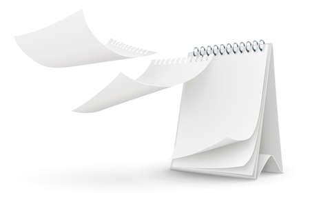 calendari: modello di calendario con la pagina vuota illustrazione vettoriale isolato su sfondo bianco EPS10. Gli oggetti trasparenti utilizzati per le ombre e le luci di disegno.
