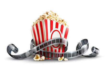 cinematograph: paper bag with popcorn and movie reel vector illustration isolated on white background EPS10. Transparent objects used for shadows and lights drawing.