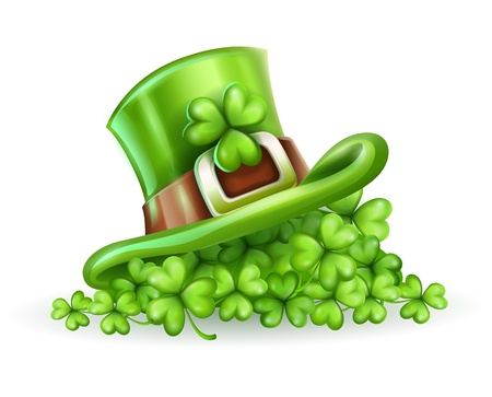Cap of Saint Patrick in the clover vector illustration isolated on white background EPS10. Transparent objects used for shadows and lights drawing. Vector