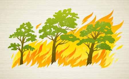 incendio bosco: bruciano gli alberi della foresta in fiamme del fuoco - concetto di catastrofe naturale, illustrazione vettoriale.