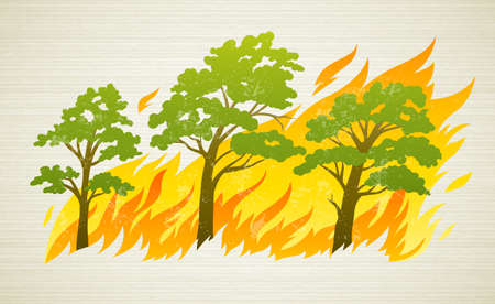 natural disaster: burning forest trees in fire flames - natural disaster concept, vector illustration.