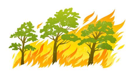 calamiteit: brandende bos bomen in brand vlammen - natuurramp concept, vector illustratie geïsoleerd op een witte achtergrond.