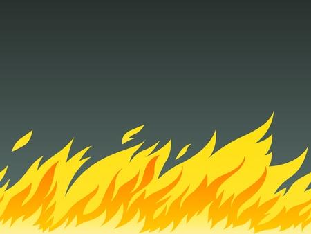 calamiteit: horizontale naadloze patroon van brandend vuur