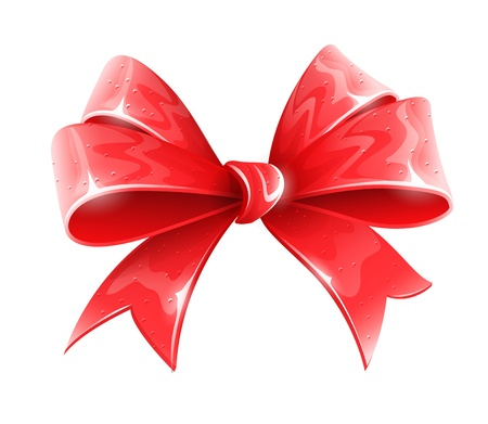 red bow for holiday gift decoration vector illustration isolated on white background EPS10. Transparent objects used for shadows and lights drawing. Stock Vector - 17982951