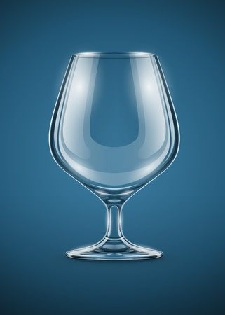 pellucid: glass goblet for brandy drinks illustration . Transparent objects used for shadows and lights drawing.