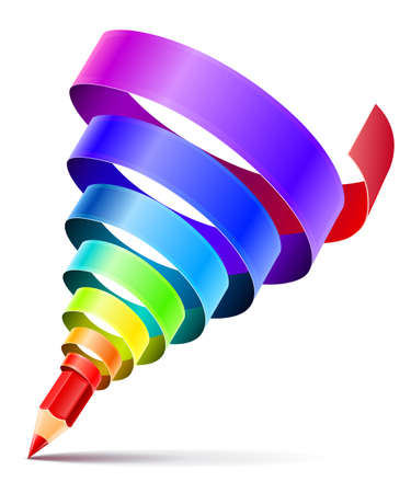 creative art pencil design concept with spiral of color rainbow ribbon isolated on white background. Transparent objects used for shadow drawing