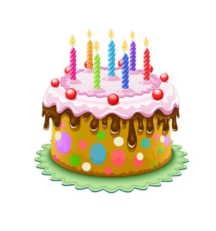 birthday cake with chocolate creme and burning candles isolated on white background - eps10 vector illustration. Transparent objects used for shadows and lights drawing Vector