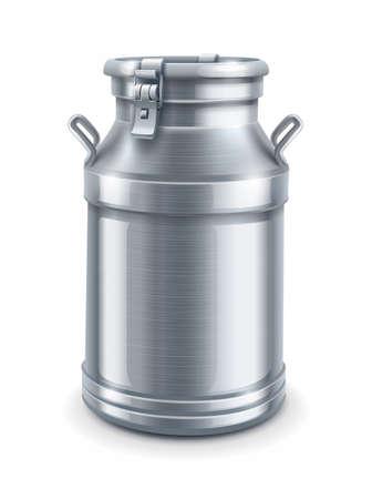 frasco: puede envase de la leche aislados en fondo blanco