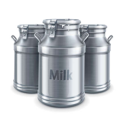 milk cans: can container for milk isolated on white background   Illustration