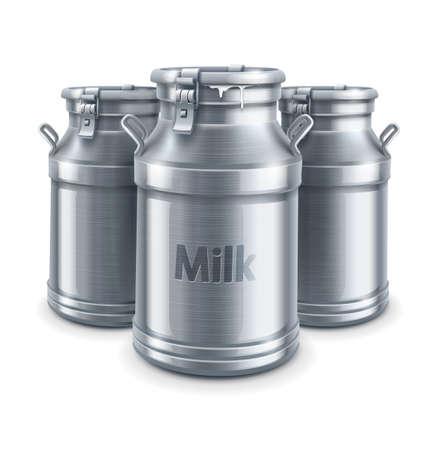 food and drink industry: pu� contenitore di latte isolato su sfondo bianco Vettoriali