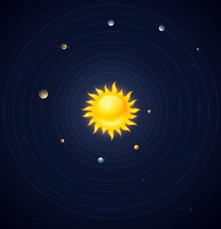 systeme solaire: Plan�tes du syst�me solaire disposition Illustration