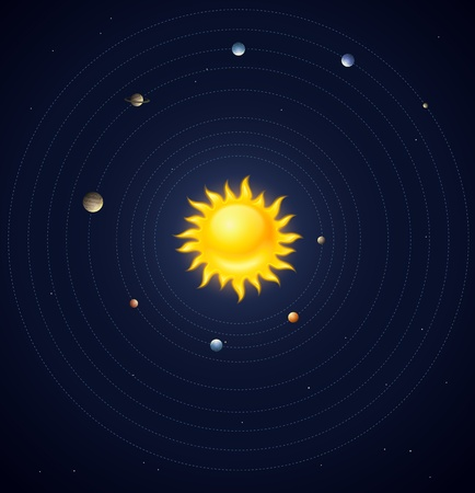 Solar system planets layout  Stock Vector - 20059665