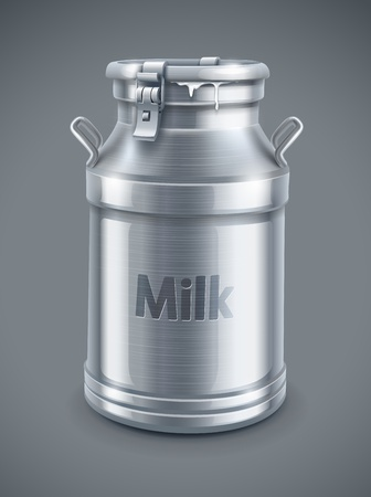milk drop: can container for milk on gray background   Illustration