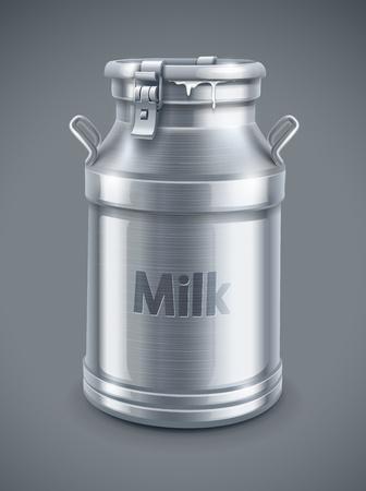 milk milk products: pueden envase de leche en el fondo gris
