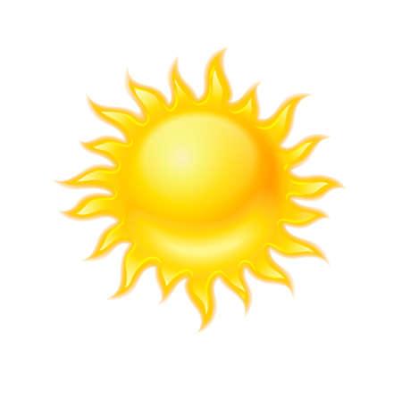 Icône jaune du soleil chaud isolé sur fond blanc