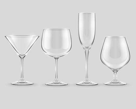 set of transparent glass goblets Stock Vector - 20059664