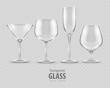 sklo: sada průhledných skleněných pohárů - EPS10 vektorové ilustrace Ilustrace