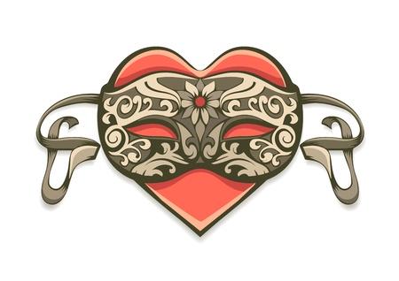 carnival mask: red heart in vintage decorative mask for carnival - EPS10 vector illustration isolated on white background Illustration