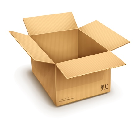 packaged: empty open cardboard box isolated on transparent white background - eps10 vector illustration