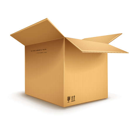empty cardboard box opened isolated on transparent white background - eps10 vector illustration Vector