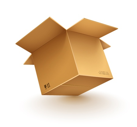 packaged: empty opened cardboard box isolated on transparent white background - eps10 vector illustration