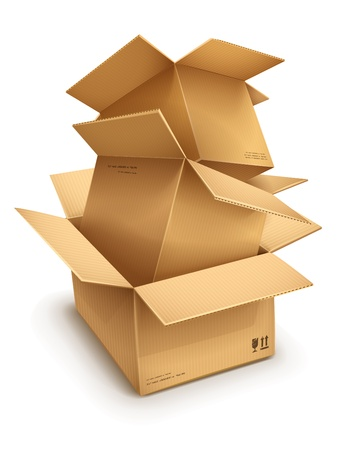 packaged: Empty open cardboard boxes isolated on transparent white background - eps10 vector illustration