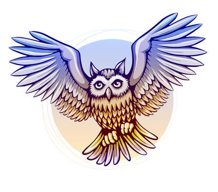 owl cartoon: flying cartoon owl bird with color wings - eps10 vector illustration Illustration