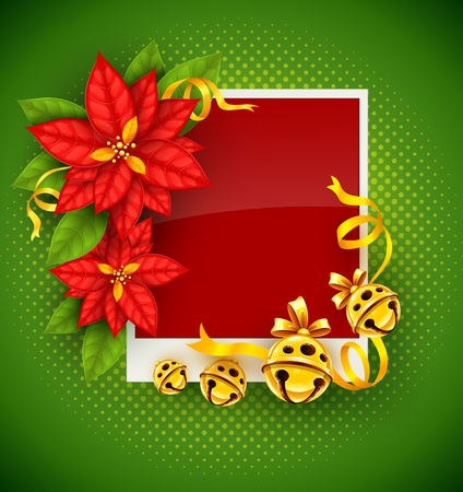 poinsettia: Christmas greeting card with traditional red poinsettia flowers and gold jingle bells on green background - eps10 vector illustration