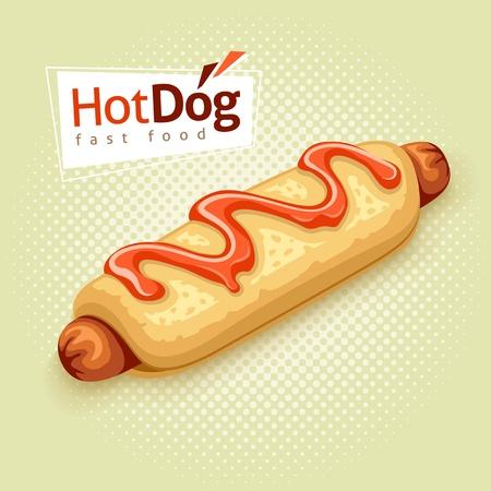 food background: hot dog on vintage background with label - EPS10 vector illustration