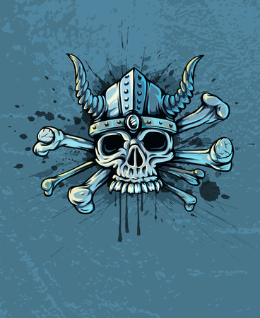 Terrible skull in helmet with horns and bones  Vector