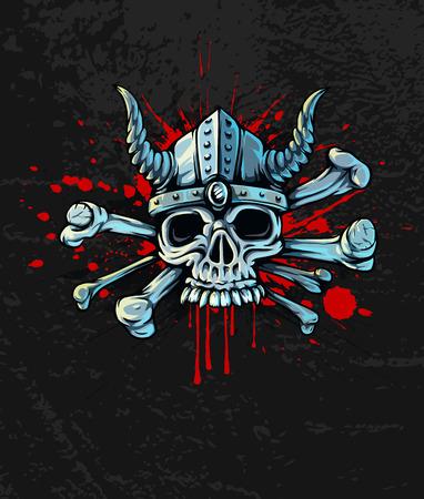 death metal: Halloween skull in helmet with horns and bones on Bloody  Illustration