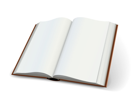 Blank pages of open books spread isolated on white Vector