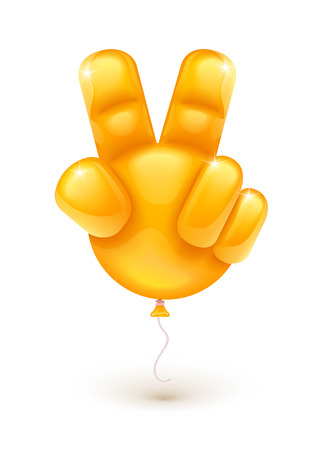 달성: 인간의 손 보여주는 승리의 상징으로 오렌지 풍선 손가락으로 만든